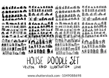Set of vector doodle drawing Collection House on white background
