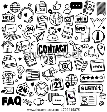 Set of vector doodle element related to contact and communication. Collection of hand drawn vector contact and communication symbols and icons.