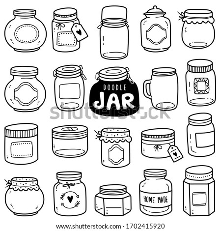Set of vector doodle element related to jars. Set of hand-drawn empty jars isolated over white background. Zdjęcia stock ©