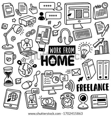 Set of vector doodle element related to work from home. Set of hand drawn work from home symbols and icons.