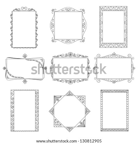 Set of vector doodle frames. Can be used for decoration of photos, scrapbooking, web project, template for invitations, etc.