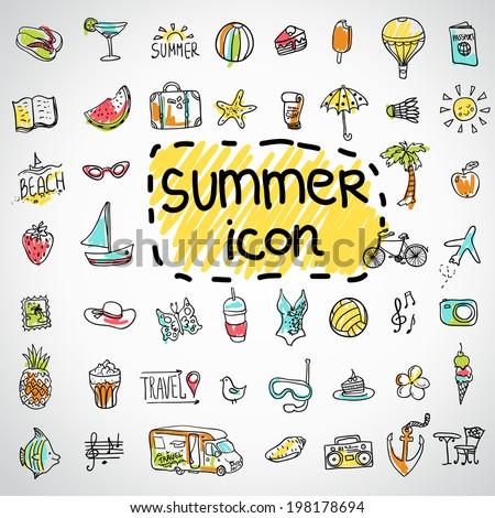 set of  vector doodle summer