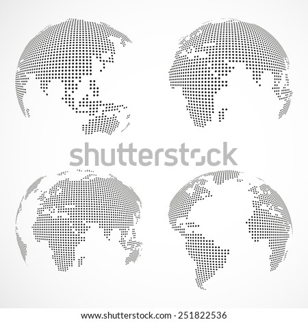 Set of vector dotted globes