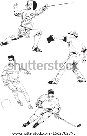 set of vector drawings-players of different sports-hockey player, football player, baseball, drawn in ink by hand