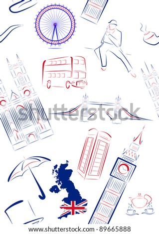 Set of vector drawn stylized sights and symbols of Great Britain. Seamless.