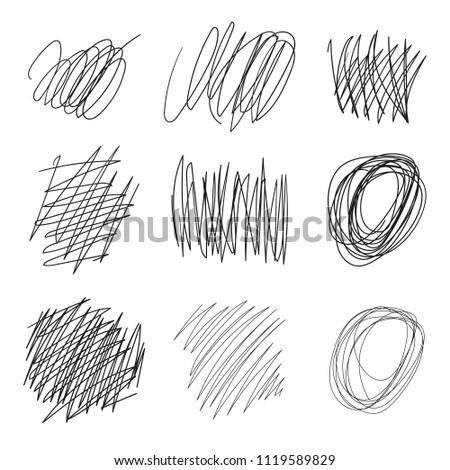 Set of vector drawn tangles, lines, circles, ellipses Doodle sketch. Black line abstract scribble shape. Vector tangled chaotic doodle circle and square scribble drawing. Thread clew knot isolated on