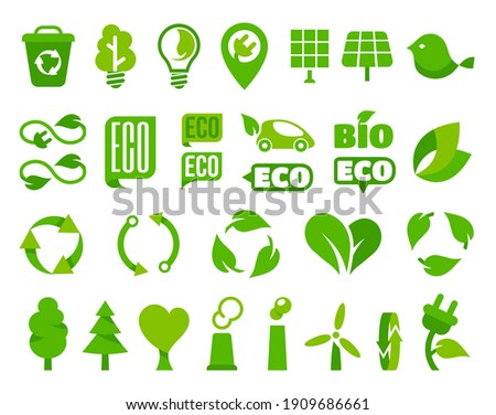 Set of vector eco icons or isolated ecology signs with plant leaf. Electricity wind turbine and plug, bulb and bird, solar panel, recycling bin, fir tree, arrow, bio car. Renewable alternative energy