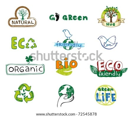 Set of vector eco labels in doodle hand-drawn style - stock vector