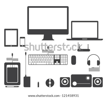 Set of vector electronic device icons for websites (UI) or smartphones and tablets applications (app). Computer, monitor, notebook, keyboard, mouse, speakers, laptop, headphones, network