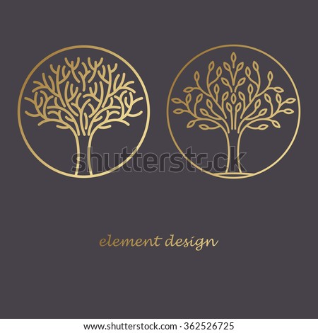 Set of vector elements. Couple icons of trees. Print gold foil on a black background. The concept for the organic store, advertising bio products, natural cosmetics, dietary supplements. Luxury style.