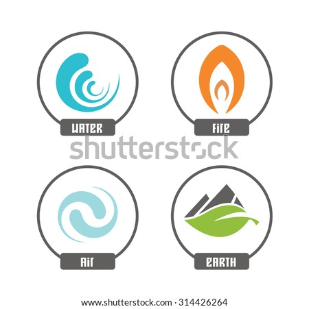 Set of 4 vector elements - fire, water, air, ground
