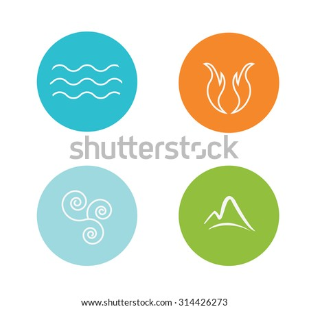 set of 4 vector elements   fire
