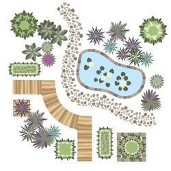 set of vector elements for landscape design, different plants, wood path, stone path, artificial lake
