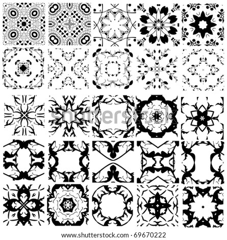 Set of 25 vector elements for seamless wallpaper pattern