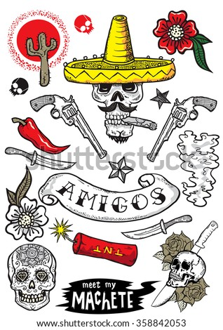 set of vector elements mexican theme tattoo art design new traditional tattoo style hand. Black Bedroom Furniture Sets. Home Design Ideas