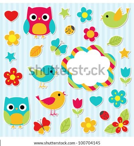 Set of vector elements - owls, birds, flowers, butterflies, ladybugs etc.