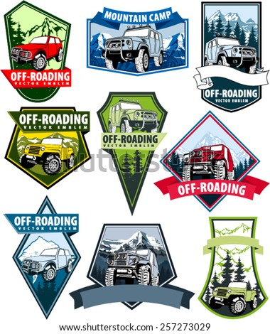 set of vector emblems with 4x4