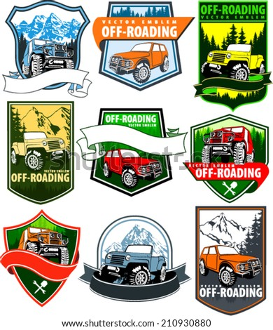 set of vector emblems with 4x4...