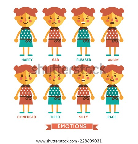 Set of vector emotions of  character in flat style. Happy, sad, pleased, angry, confused, tired, silly, rage. Cartoon emotions of girl  character.