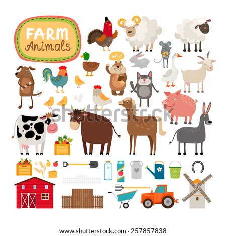 set of vector farm animals and