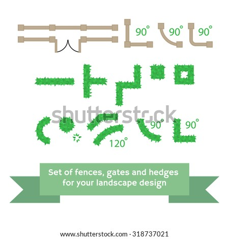 set of vector fences and hedges
