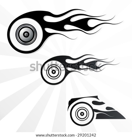 Set of vector fire wheels for use as tattoo - stock vector