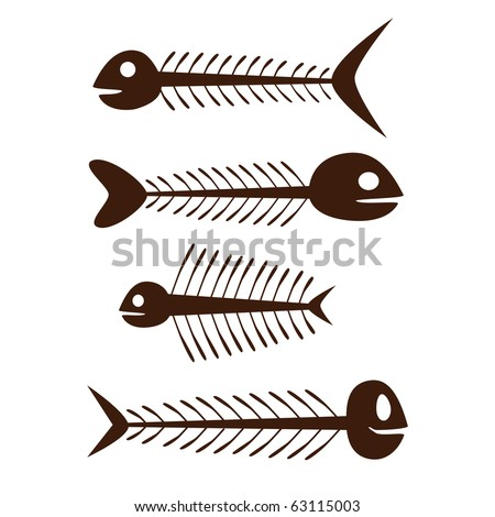 set of vector fish skeleton - brown on the white background