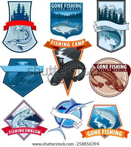 set of vector fishing emblem logo with catfish, carp, salmon fish, marlin, pikefish