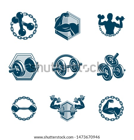 Set of vector fitness workout and weightlifting gymnasium theme illustrations made using dumbbells and disc weights sport equipment. Muscular athlete body silhouette.
