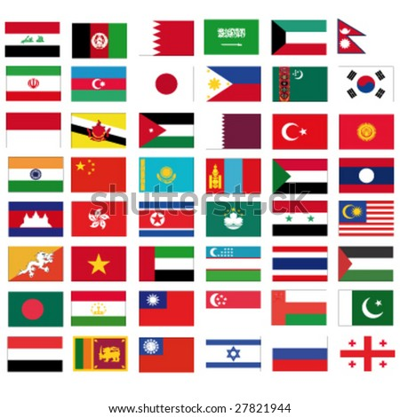 set of vector flags of all asian countries