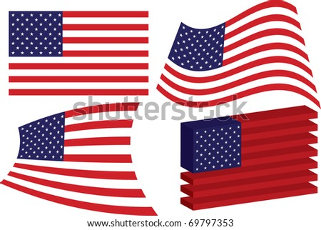 Set of vector flags of the USA
