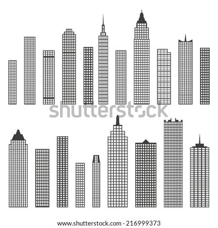 set of vector flat building