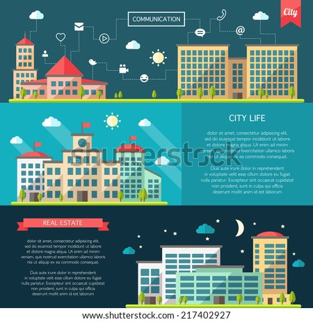 Set of vector flat design buildings compositions