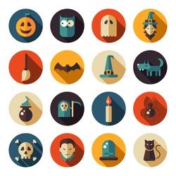 Set of vector flat design Halloween icons