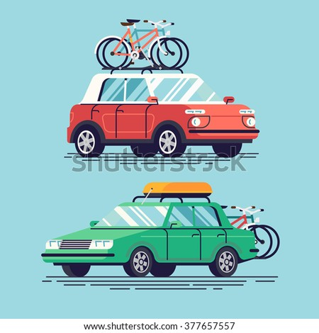 Set of vector flat design modern vehicles with bicycles and top luggage carrier on rack. Tourism design element on recreational destination travel by car for riding on bicycle
