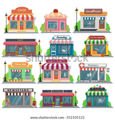 Shutterstock Set of vector flat design restaurants and shops facade icons.Includes shop,newspaper,coffee shop,ice cream shop, flower shop,vegetable store,Laundry, barber,shoe repair, pharmacy,boutique,toy store.