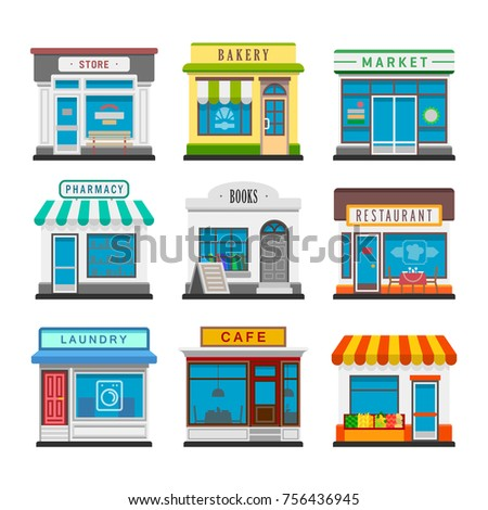 Set of vector flat design restaurants and shops facade icons. Includes store, bakery shop, market, restaurant, book shop, vegetable store, laundry, pharmacy, cafe. Isolated on white background.