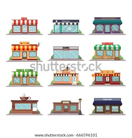Set of vector flat design  shops facade icons. Cafe, pharmacy, fashion store, bakery, alcohol, flowers, shoes store, ice cream, china town, coffee house, pawn shop and books