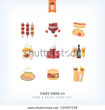 set of vector flat fast food