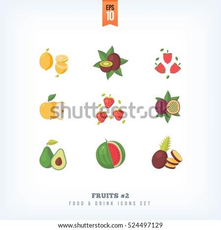 set of vector flat fresh fruits