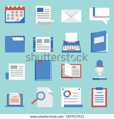 Set of vector flat icons for web and mobile applications. Communications and documents - vector icons
