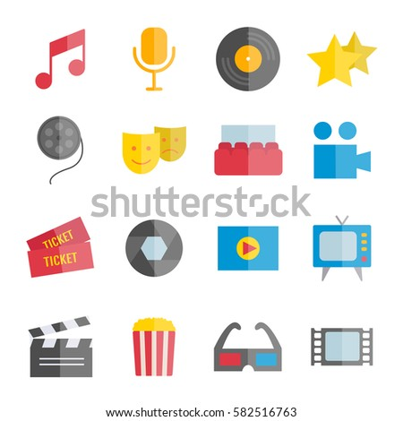 Set of vector flat music and cinema icons for web, mobile apps design