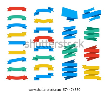 Set Of Vector Flat Ribbons and Banners