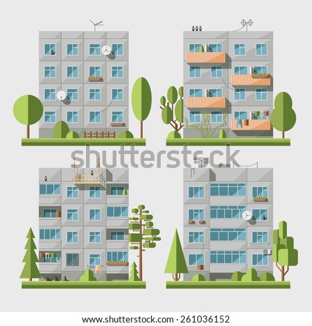 Set of vector flat style facades of panel houses. Classic blocks of flats architectural symbols and design elements. Collection for product promotion and advertising isolated on white background