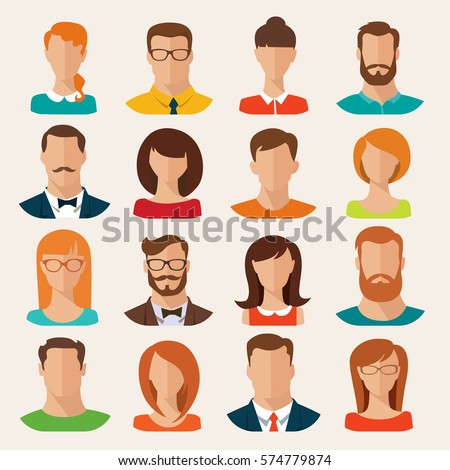 Set of vector flat style male and female characters. Vector avatars. Men and women vector portraits.