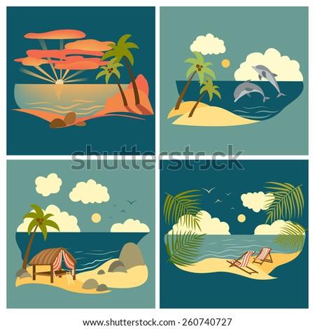 set of vector flat style sea