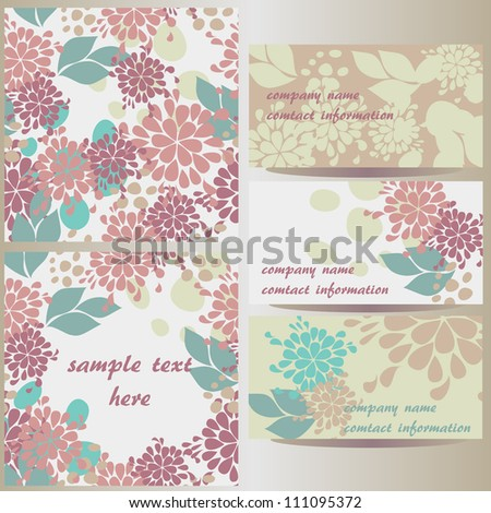 set of vector floral designs: business cards, seamless pattern, beautiful illustration frame