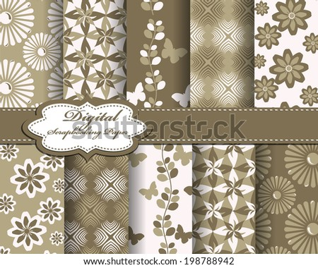 set of vector flower abstract pattern paper with butterfly for scrapbook #198788942