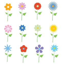 set of vector flowers graphics