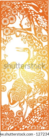 Set of Vector from Traditional Chinese Paper-cut, very popular in North-West China, for celebration of Spring Festival or Wedding